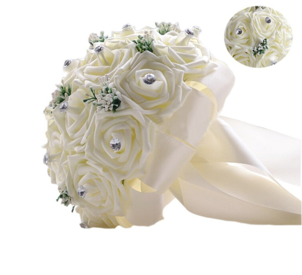 Cheap wedding hand tied bouquets find wedding hand tied bouquets get quotations mollybridal elegant rose flowers wedding bouquets with bling crystals bridal hand bouquet ivory izmirmasajfo