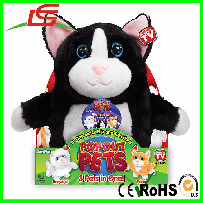 Wholesale Pop Out Pets Tuxedo Snowball Tabby Cats Stuffed Animals 3 In 1 Reversible Plush Toy
