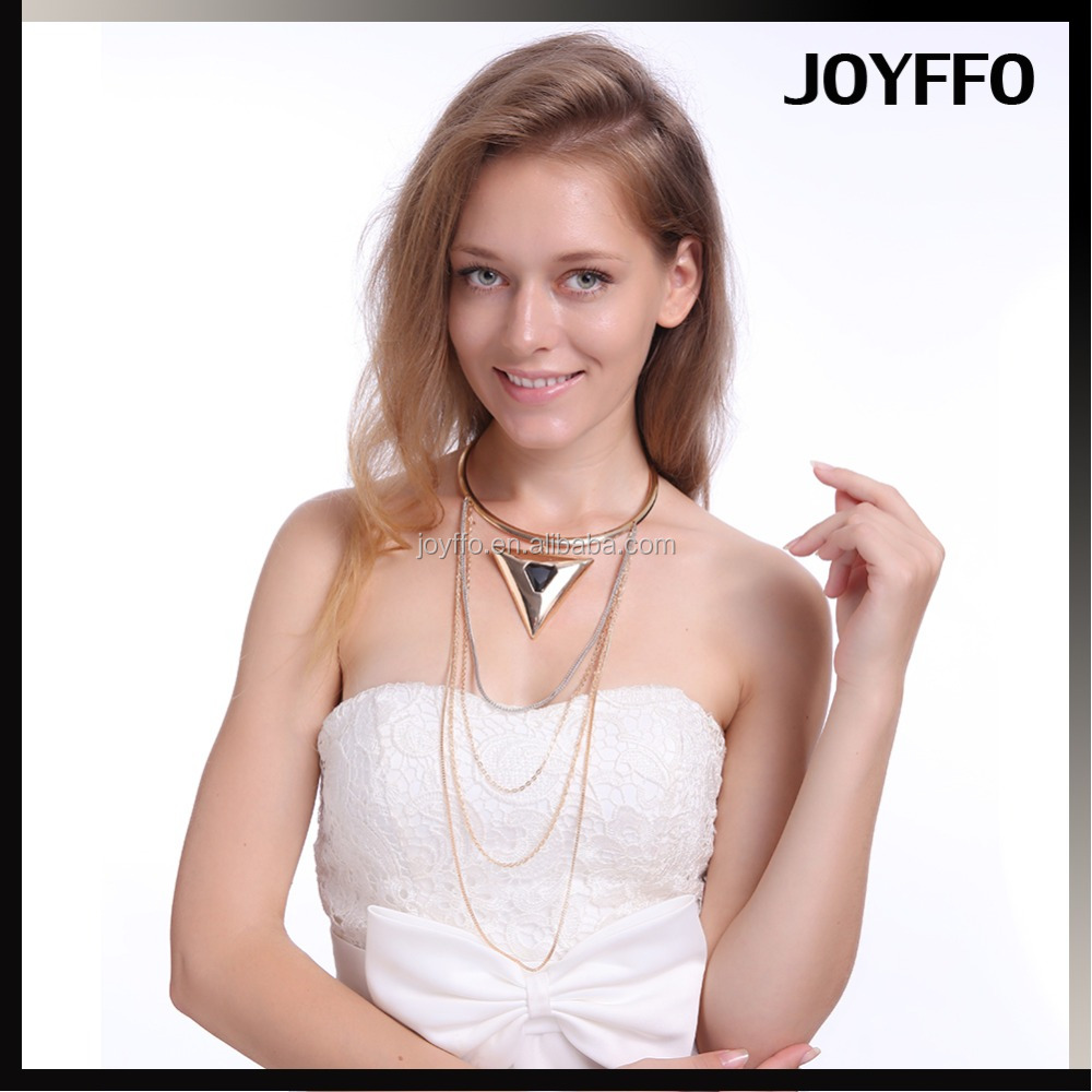 Fashion Multi-Layered Lady Gold Color Long Chain Metal Jewelry Choker Bib Statement Mirror Triangle Pendant Necklace