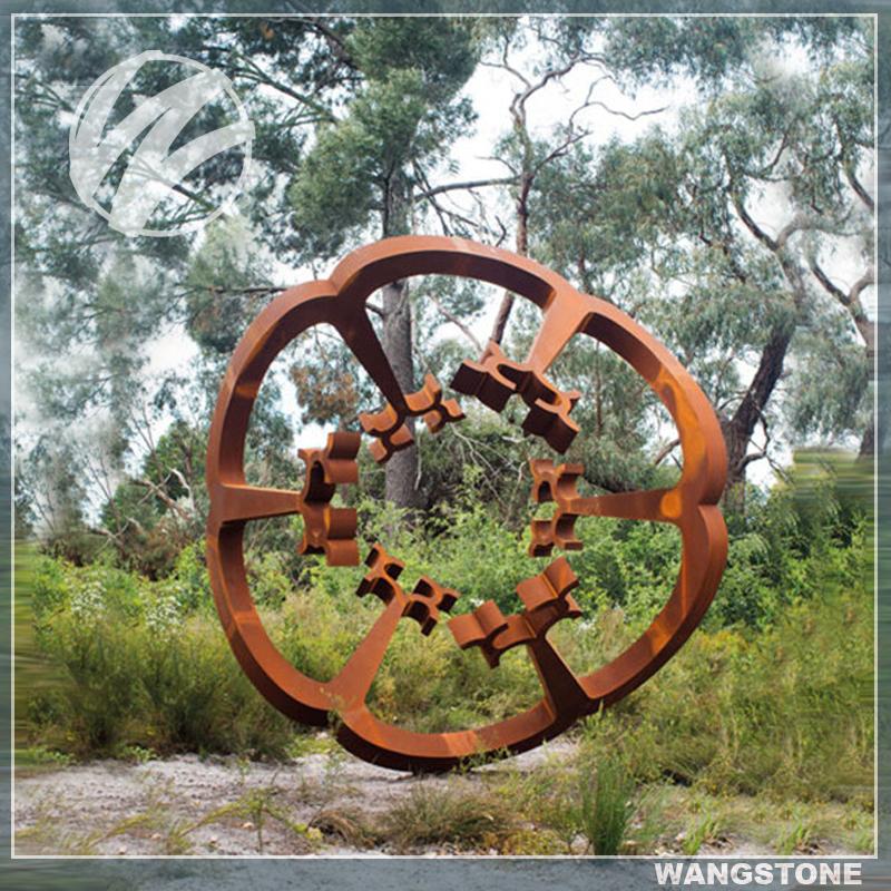 Garden Art Sculpture: Rustic Garden Art Decor Corten Steel Flower Metal