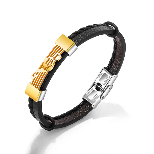 New trendy handmade black leather popper  bracelets with  musical notation for men and women