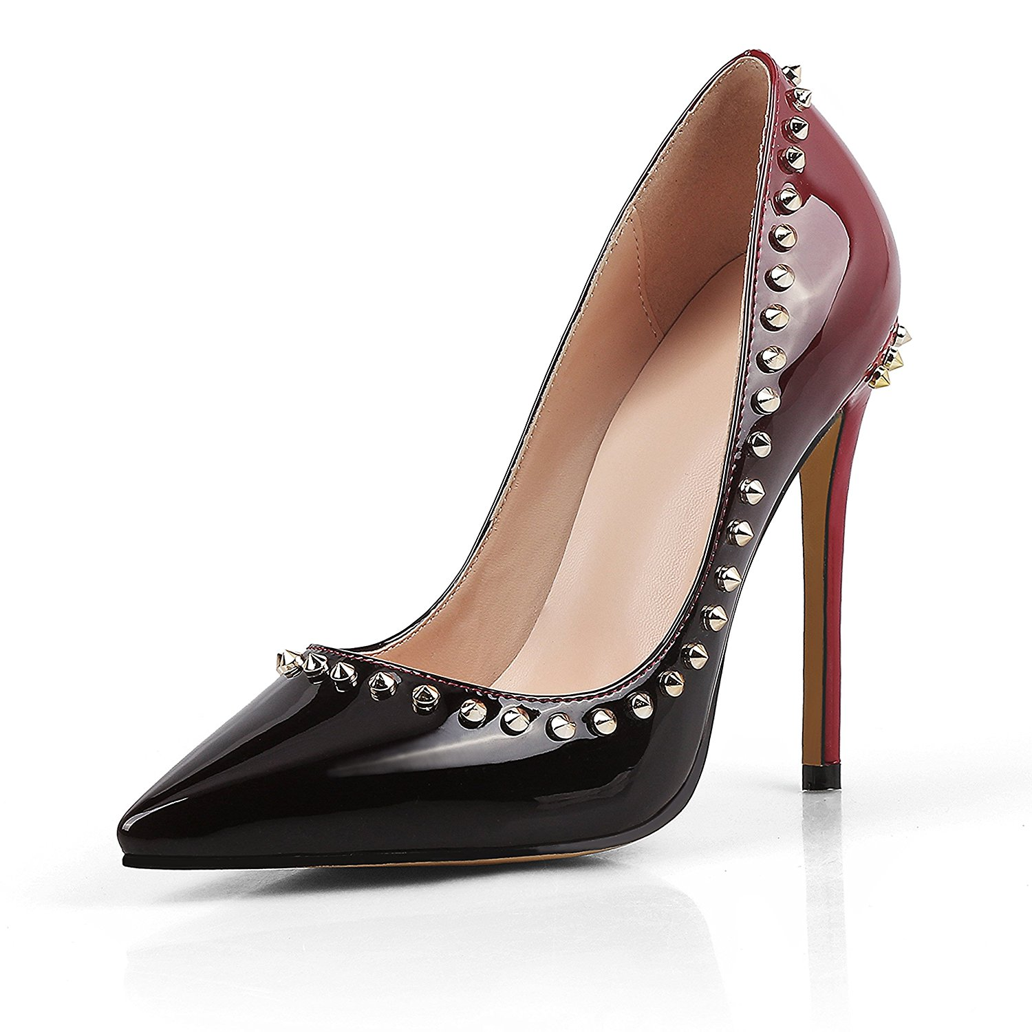a76656fe1aef Get Quotations · Chirs-T Women Summer High Heels Silver Rivets Pointed Toe Shoes  Stilettos Dress Pumps 5