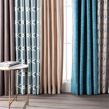 Rf 433mhz Remote Control Motorized Curtain Printing Blackout Somfy Curtains