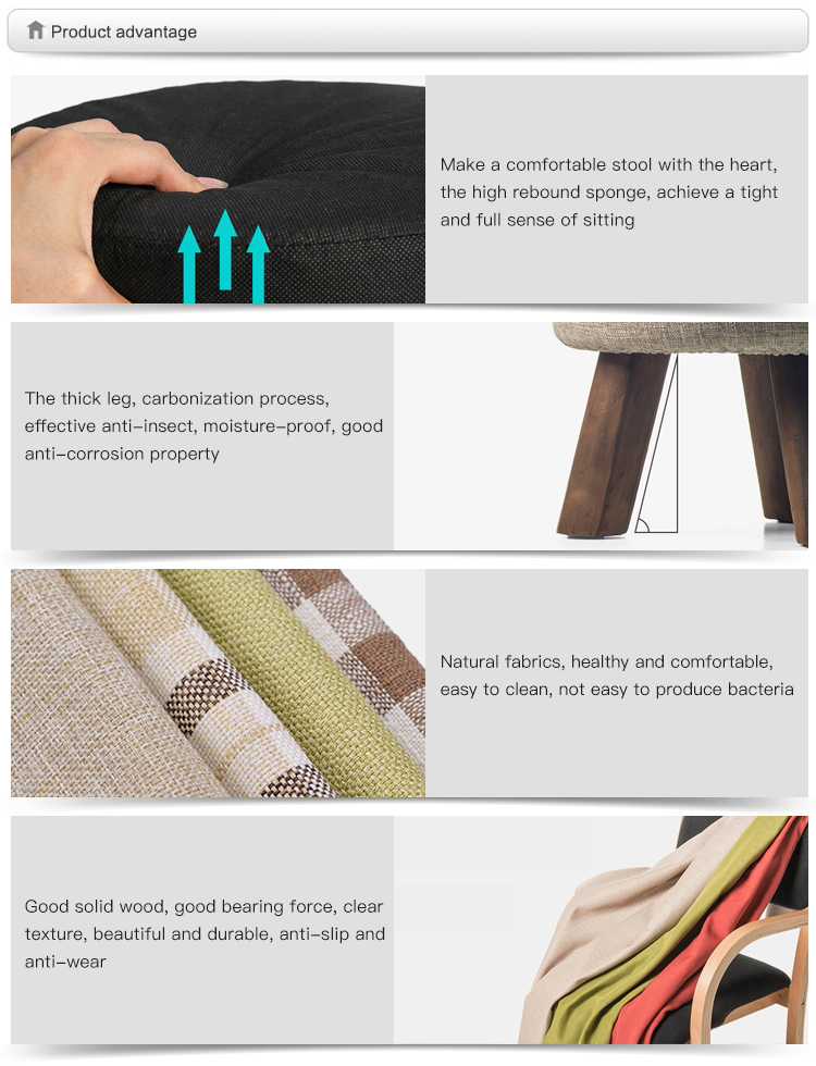 Design extravagante Tecido Coberto de Pequenos Móveis Otomanos/Otomano Perna de Madeira/Tecido Pufe Redondo