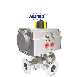 China professional supplier CE ISO industrial 3 way ball valve with pneumatic actuator