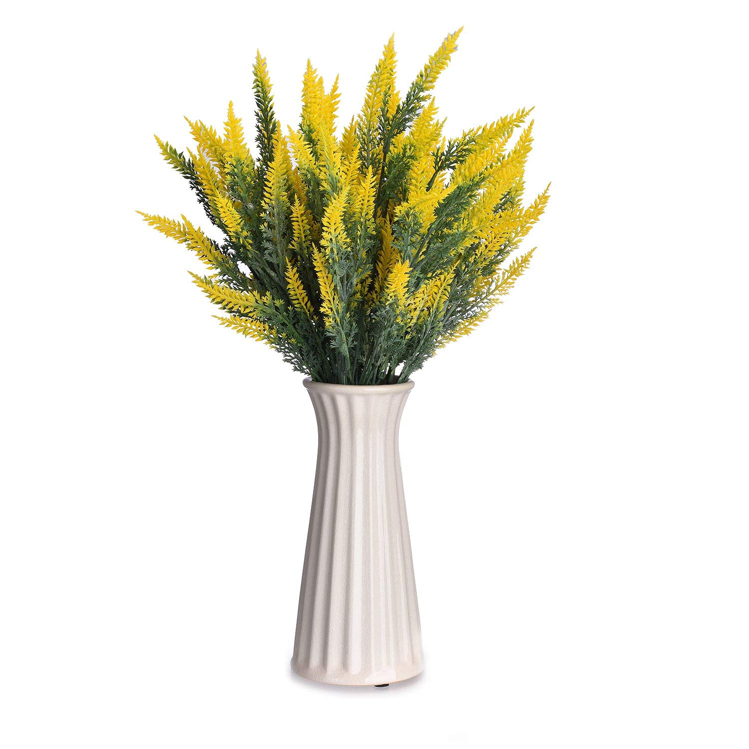 Artificial Lavender Flowers,TtoyouU 4pcs Bundles Artificial Flocked Lavender Flowers Bouquet Arrangements Wedding Garden Office Home Decoration (Yellow)