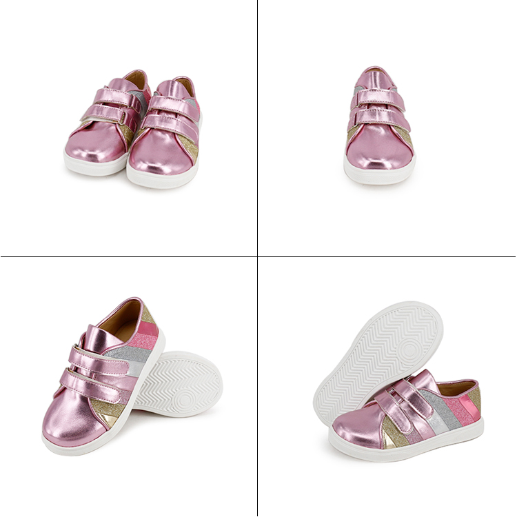 New Arrival Factory Pink Color Premium Shiny Leather Princess Children Girls Casual Shoes Fashion Casual Latest Sneakers Kids
