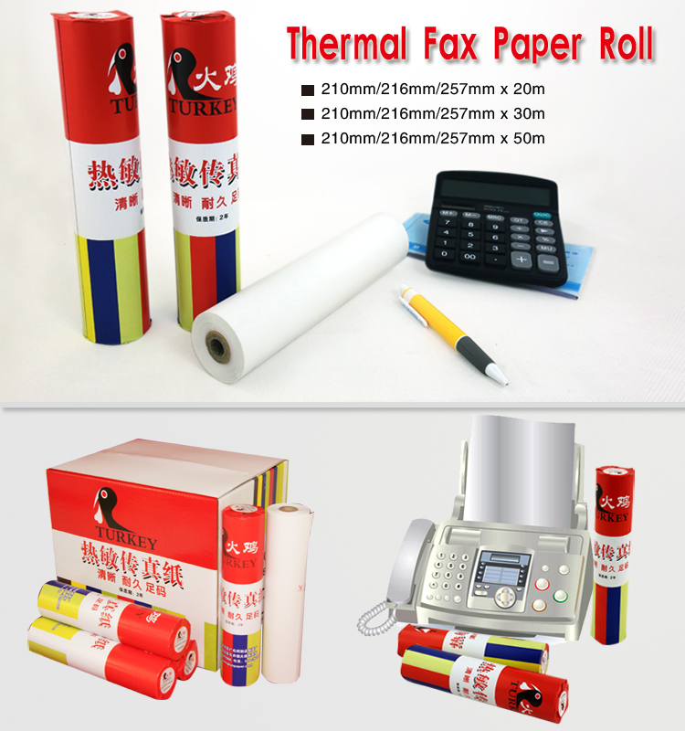 TK thermal fax paper roll 210mm / 216 mm x 30 meters