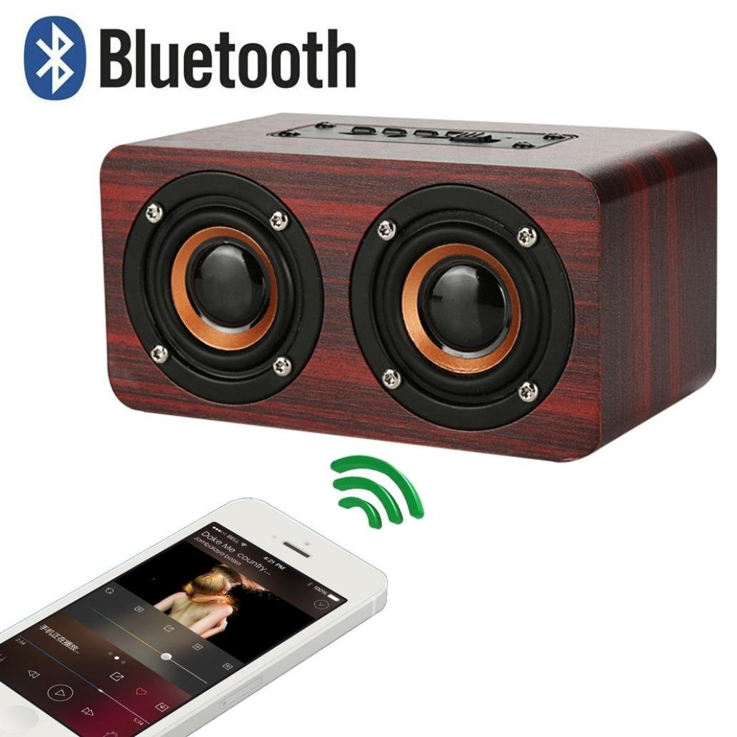 Lywey Bluetooth Speaker Bluetooth 4.2 Dual Twin Double Louderspeakers Super Bass Subwoofer 25W with Super Bass, Loud Wood Home Audio Wireless Speakers with Subwoofer