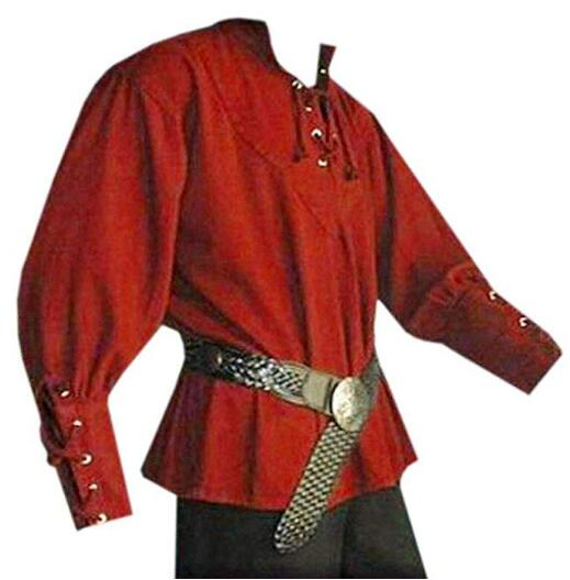 ecowalson Men's Medieval Lace up Pirate Mercenary Scottish Wide Cuff Shirt Costume