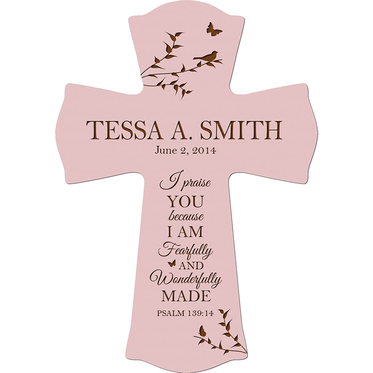 Personalized Christening Gifts for boys and girls Custom Baptism 1st Holy Communion Cross keepsakes I Praise