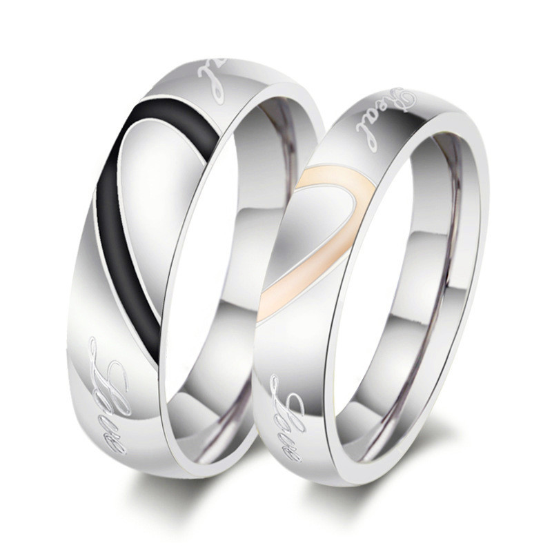 new fashion jewelry male female heart stainless steel couple ring wedding rings engagement rings for men - Wedding Rings For Women Cheap