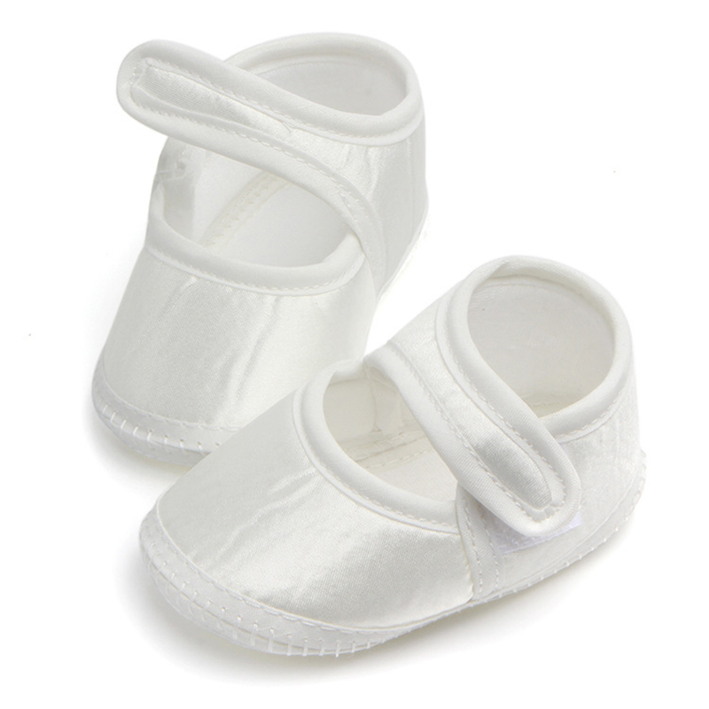 7f2be25a7f427 Newborn Baby Shoes First Walkers Crib Bebe Footwear Pure White Kids Satin  Baptism Christening Mary Jane Soft Shoes Prewalkers