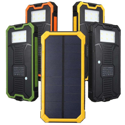 20000mAh Waterproof solar power bank Solar Charger External Battery Backup Pack For cell phone Tablets For iphone for samsung