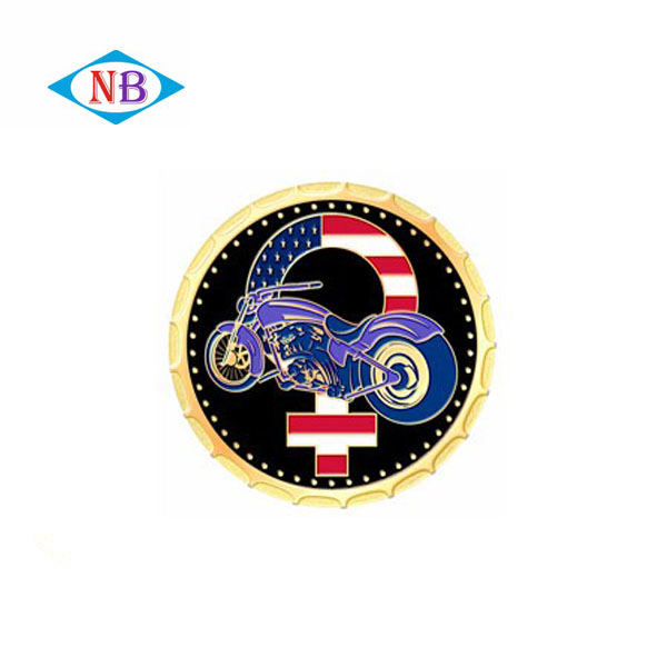 OEM motorcycle antique brass soft enamel coin custom challenge gold coin