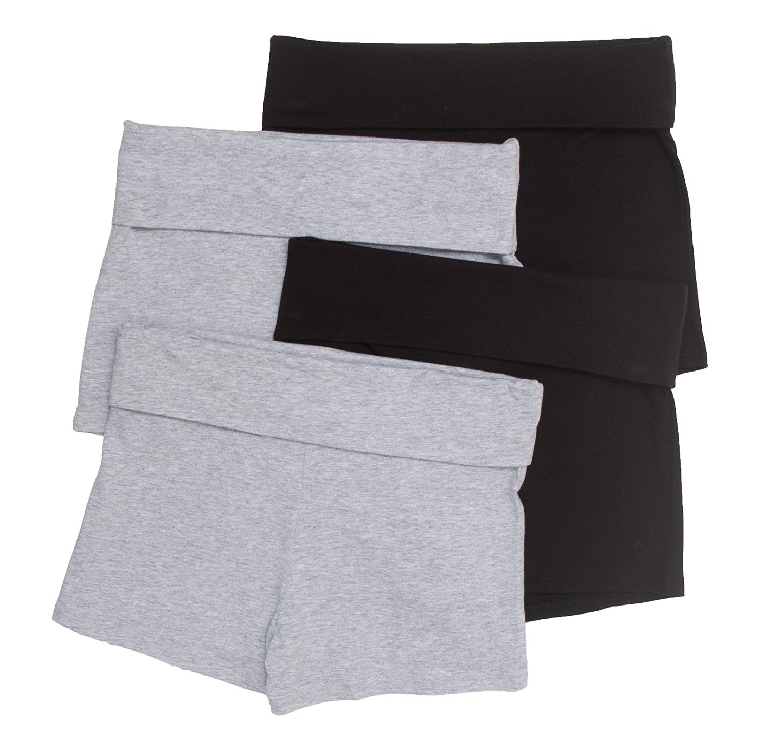 4 Pack Zenana Women's Basic Solid Fold Down Athletic Yoga Shorts