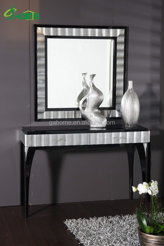 Black Framed Mirror And Mirrored Console Table Set Product On Alibaba