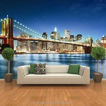 Customized Design Beautiful Scenery Wall Mural Self Adhesive Wallpaper Digital Printing