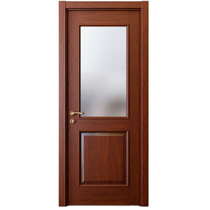 2017 New Design Brown Walnut Solid Wood Frame Security Door with Glass