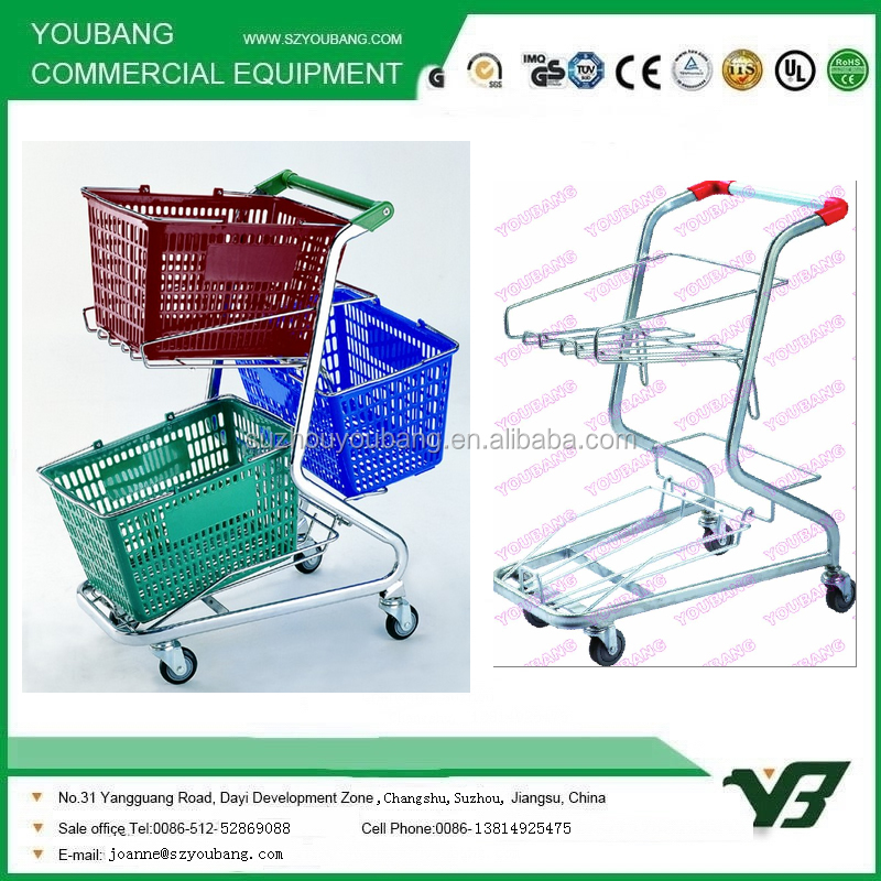 Hand Push 4 Wheel Supermarket 3 Basket Shopping Trolley