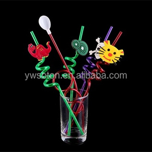 PVC Pet Drinking Straws Funny Curly Cartoon Crazy Shape