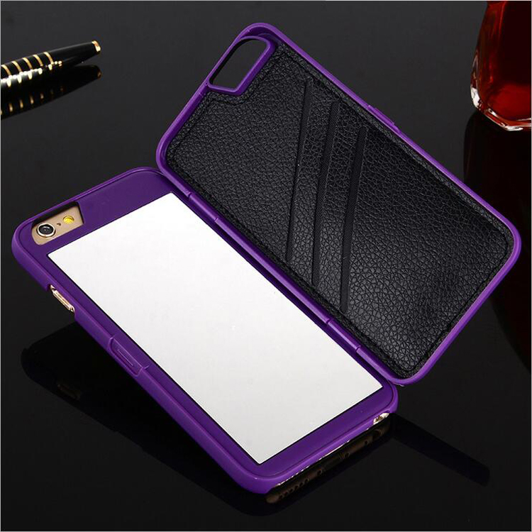Suppliers Wholesale Purple Mirror Wallet Cell Phone Case for iPhone 7