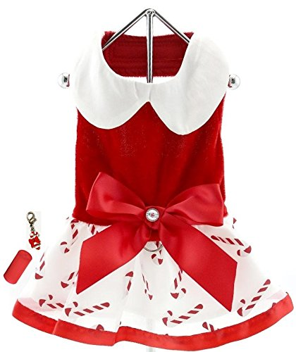 2cac3324b7b Get Quotations · Mrs. Santa Claus Holiday Candy Red Velvet Harness Dress  with Charm Bags and Leash-