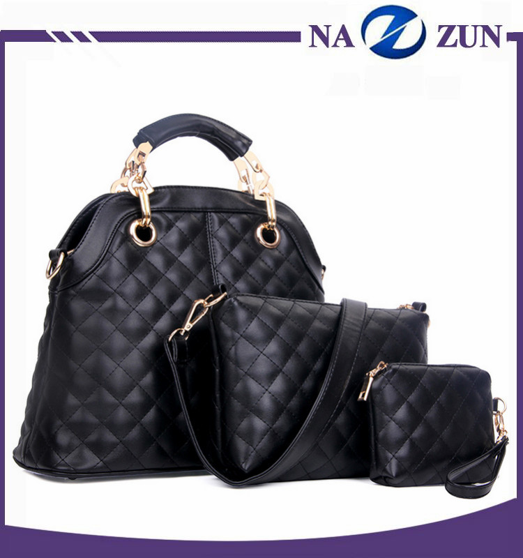 Hot sale unique style black women handbags sets fashion 3pcs one set tote bag