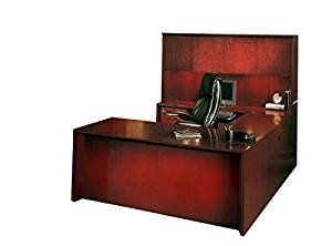 "Mayline U-Shaped Desk W/Hutch 72""W X 100""D X 68""H Desk: 72""W X 32""D X 29.5""H Bridge:48""W X 20.5""D X 29.5""H Credenza: 72""W X 20""D X 29.5""H Hutch: 71.75""W X 15""D X 38.5""H - Sierra Cherry"