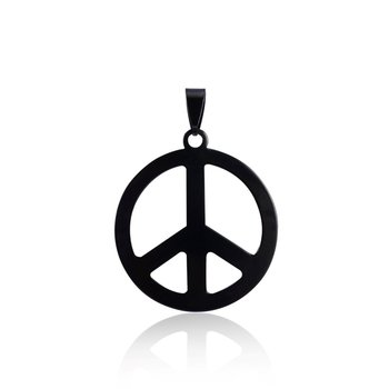 Fashion stainless steel jeweley peace sign pendantblack round fashion stainless steel jeweley peace sign pendant black round circle airplane pendant necklace aloadofball Images