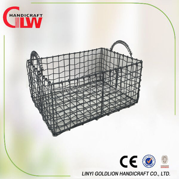 Rectangulat Wire Basket With New Design Handles Decorative Wire