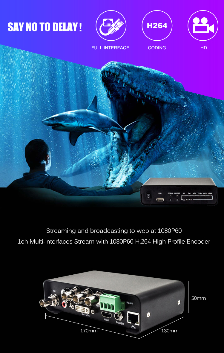 Distance education and training H.264 Multiple interfaces iptv streaming server hd mi video encoder
