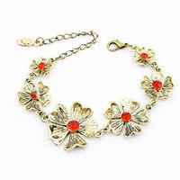 Elegant ruby imports jewelry metal hawaiian flower bracelet fashion red natural stone bead bracelet PN1953