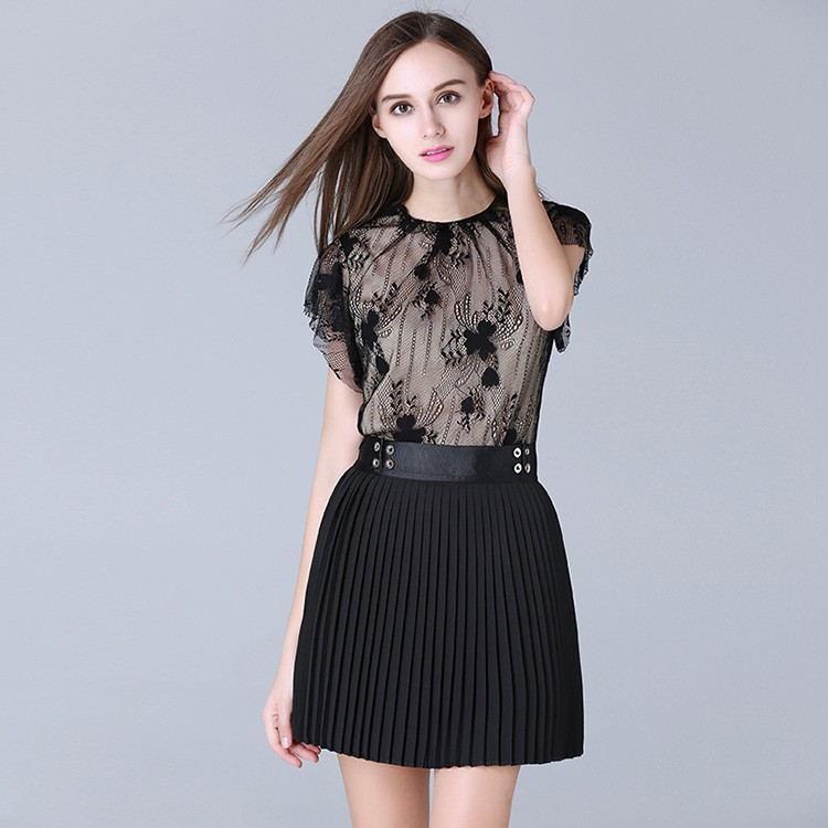 Hot selling high quality two piece cheap price fashion women pleated mini dress suit