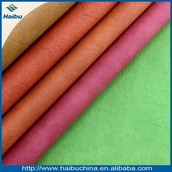 Reasonable price polyester faux leather fabric and pattermed pvc define synthetic leather