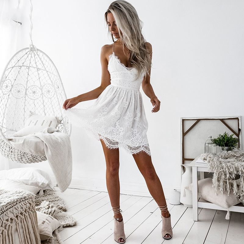 2019 new arrival sexy women deep v neck backless hollow out gallus formal style lace short <strong>dress</strong>