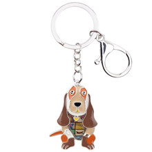 Bonsny эмаль металл Basset собака брелок для ключей цепочки брелок ювелирные изделия для женщин кулон для девочек сумка автомобиля амулеты милый ...(Китай)