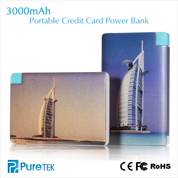 Factory Direct Price Unique Wholesale Products Ultra Slim Aluminum Alloy Credit Card Lithium Polymer Power Bank 3000mAh for iPh
