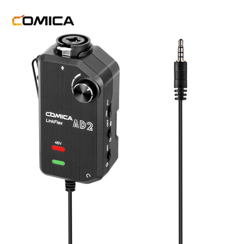 COMICA LinkFlex AD2 XLR Microphone & 6.3mm Guitar Interface Preamp Audio Adapter with Phantom Power Preamp Amplifier