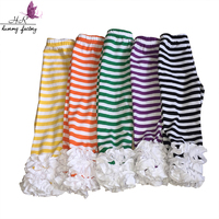 Girls boutique clothing baby icing ruffle striped pants knitted cotton triple white icing pants design icing leggings