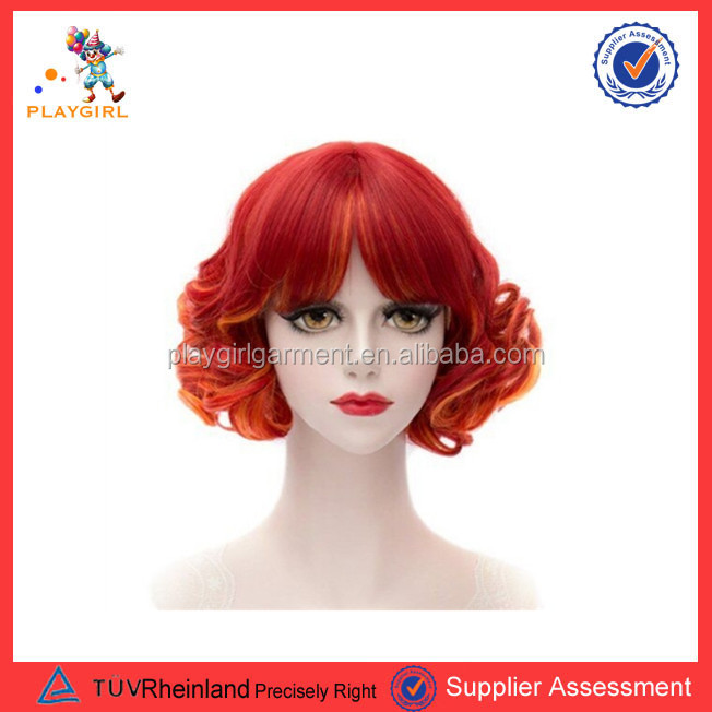 Hot selling fashion short curly red hair wigs PGWG1345