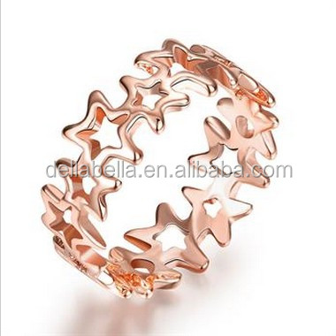 Five-pointed star rose gold ring