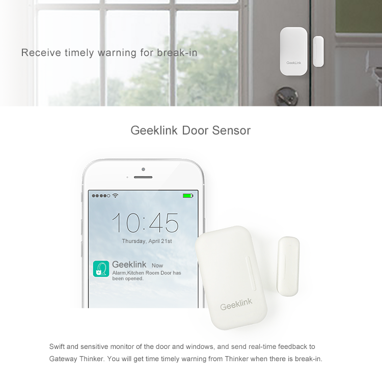 Geeklink battery power window alarm detector ip door sensor and window vibration sensor alarm window sensor