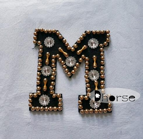 New product M letter design beaded fashion applique on clothing