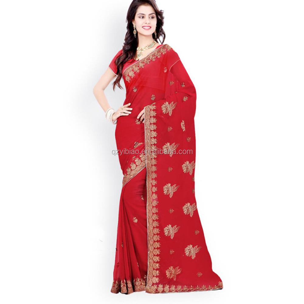 Spot Saree Groothandel In Kolkata Saree Blauw Hand Geborduurd Georgette Designer Saree