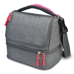 Trendy Grey Canvas+foam+aluminum Lunch Insulated Lunch Bag Two Sections Multifunctional Crossbody Cooler Bag