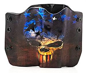 Skull Flag Kydex OWB holsters for more than 125 different handguns. Left & Right versions plus Speed Clips available.