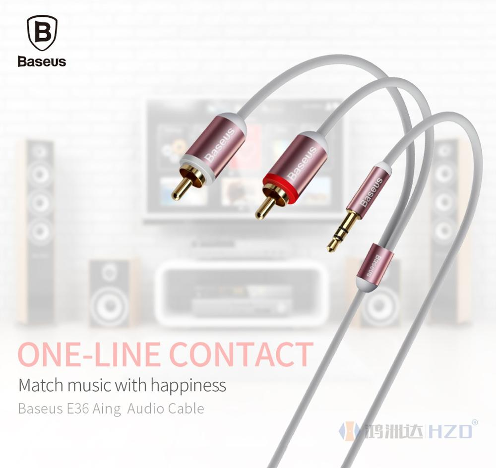 Baseus E36 Aing 15m Hi Fi Aux Audio Cable 35mm Male To 2 Rca Music Series Black For Iphone