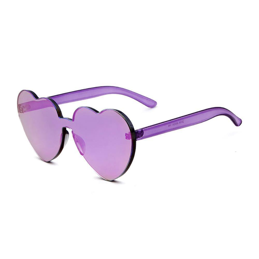 Wholesale Purple Heart Shaped Love Rimless Sunglasses Transparent Candy Color Frameless Party