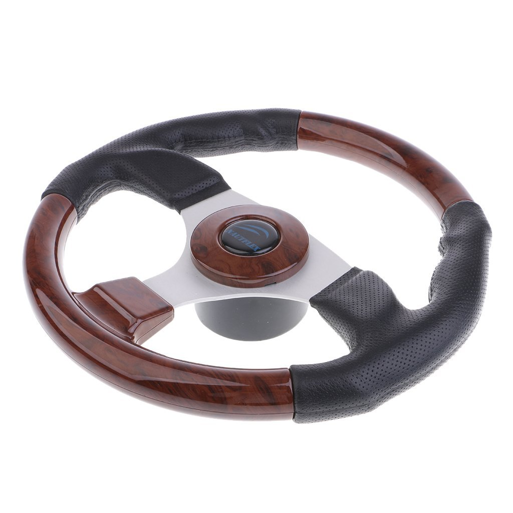 Dolity 320mm Aluminum Alloy Marine Boat Pontoon Steering Wheel 3 Spoke 3//4 Shaft